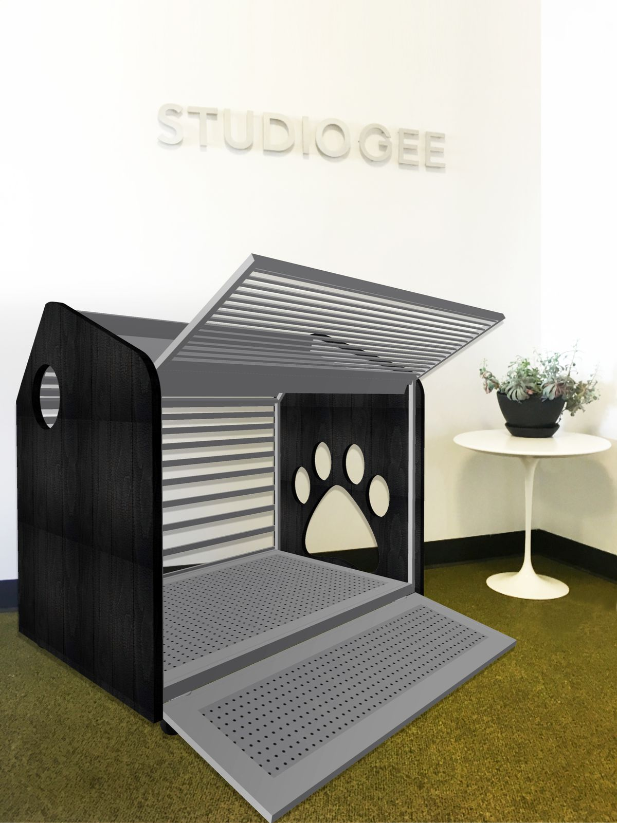 An interior photo of a crate-like container with walls on metal one side that open to become a ramp and an awning-type structure. Black metal walls have perforations shaped like dog paws.