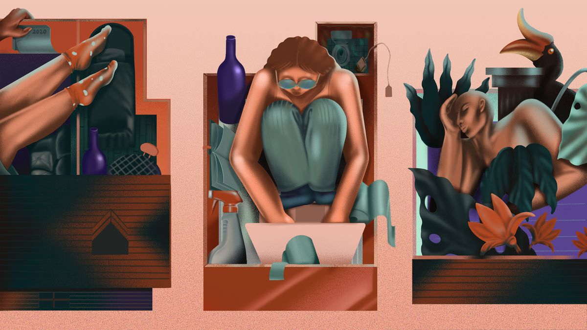 An illustration depicts three people stuffed into tight quarters, represented by drawers, with all their possessions, in a representation of how we're living during the pandemic.