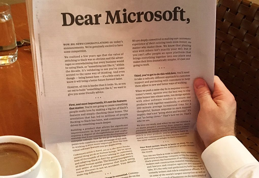 Slack New York Times ad