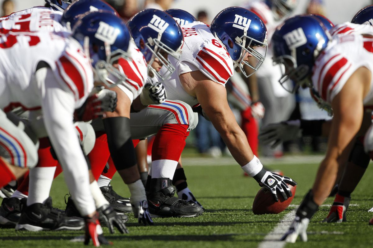 The Giants will be hoping for improved play from their offensive line in 2012. (Photo by Rich Schultz /Getty Images)