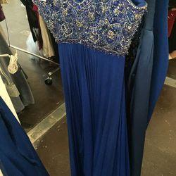 Cobalt beaded empire-waist gown, $1,200 (was $4,950)