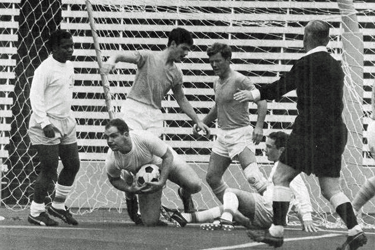 University of Washington soccer action at Husky Stadium, 1968. Courtesy Tyee yearbook archives, UW Libraries.