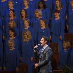 Guest performer Santino Fontana performs with the Tabernacle Choir at the annual Pioneer Day concert Friday, July 18, 2014, in Salt Lake City at the Conference Center.