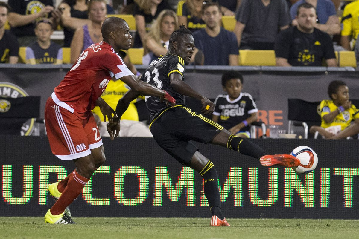 Columbus' Kei Kamara gets his foot on the ball in a two-goal performance versus New England on Wednesday.