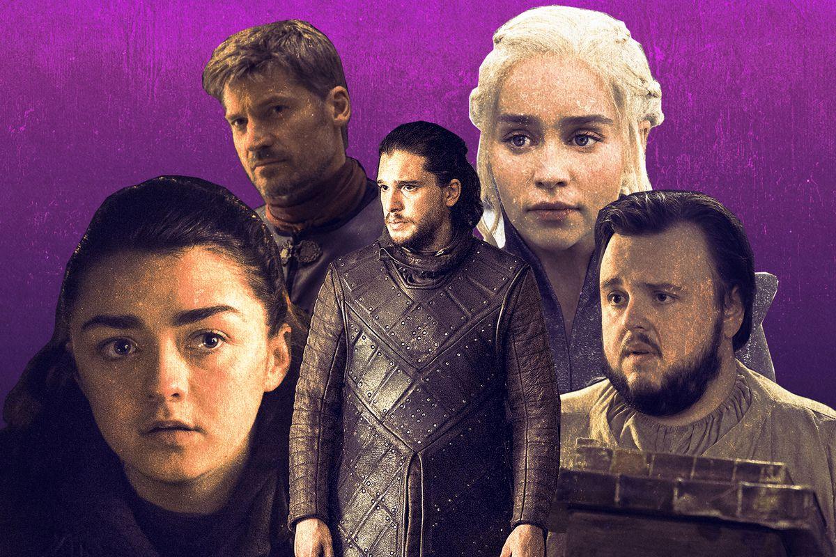 Jon Snow, Samwell Tarly, Jaime Lannister, Arya Stark, and Daenerys Targaryen
