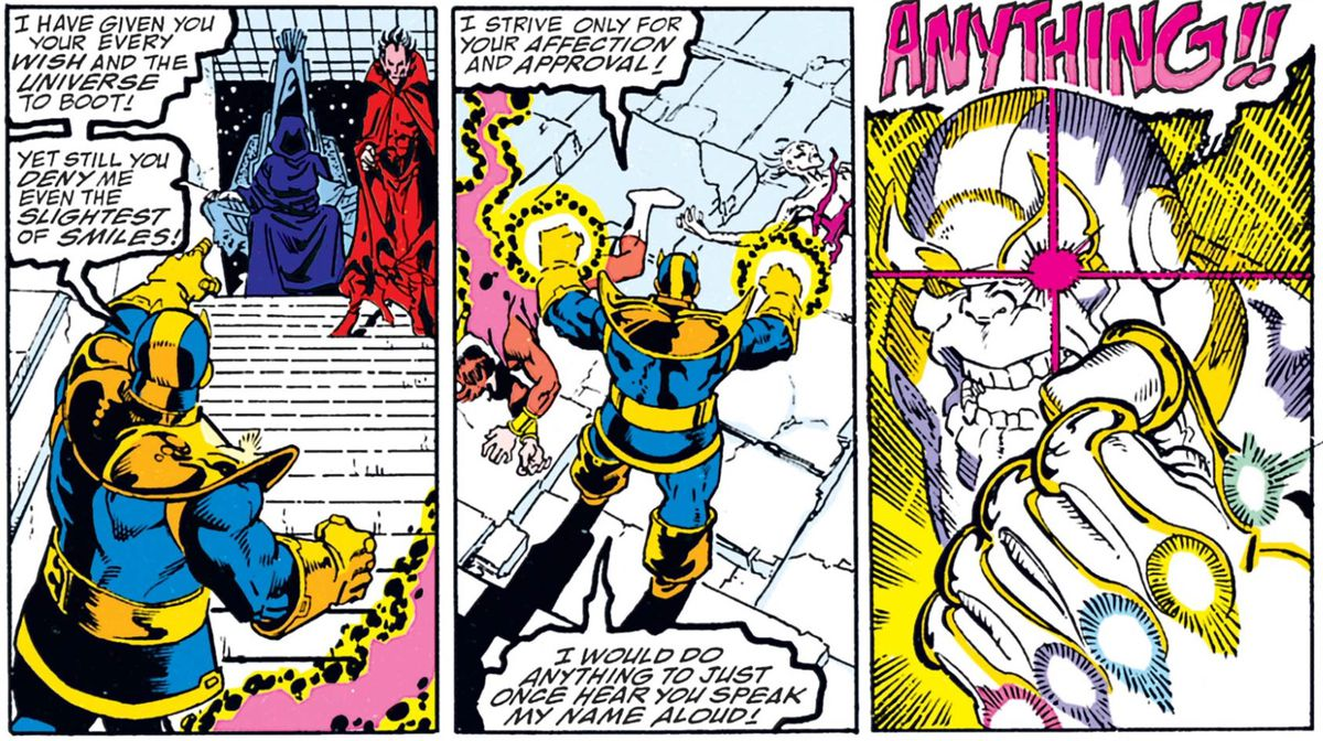 Thanos' eye flares red with anger over Mistress Death in Infinity Gauntlet # 2, Marvel Comics (1991).