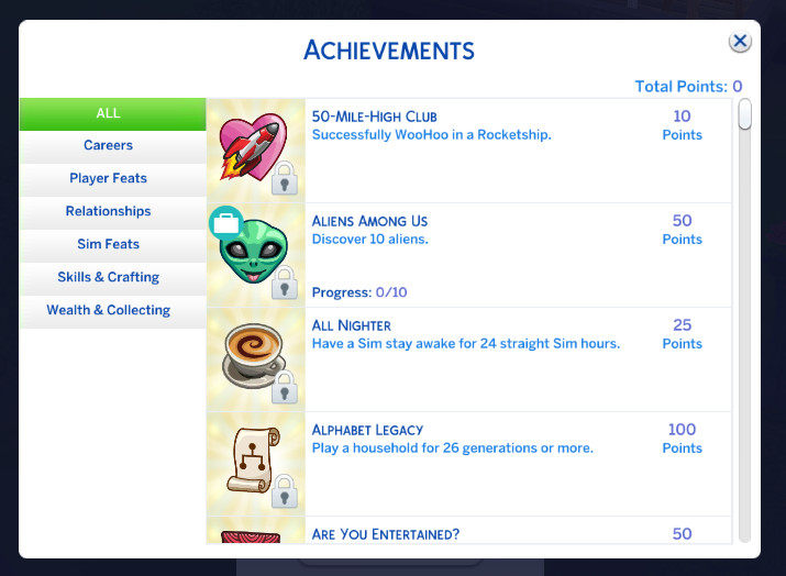 An example of a fresh list of The Sims 4 achievements