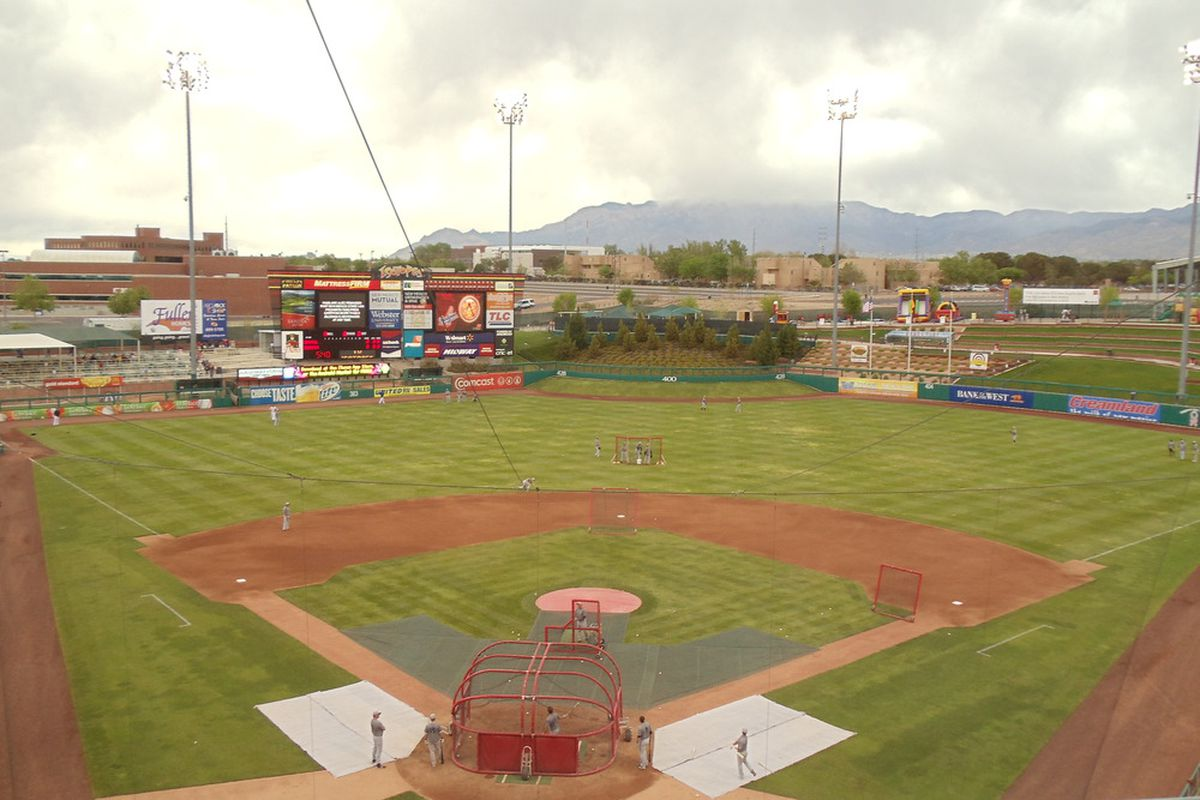 View from the Isotopes Press Box an hour before the game