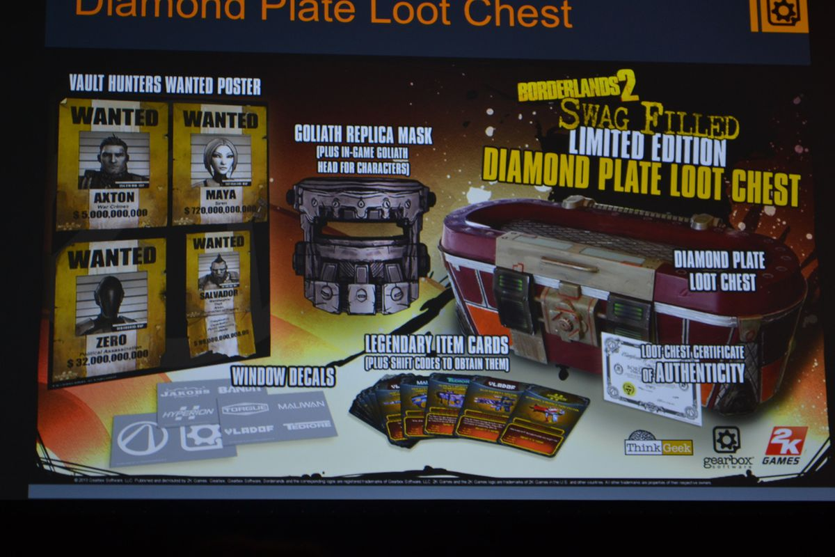 The Borderlands 2 Diamond Plate Loot Chest A Bundle Of Codes For In Game Gear And Real Life Replica Items Will Launch May 9999 Gearbox Announced