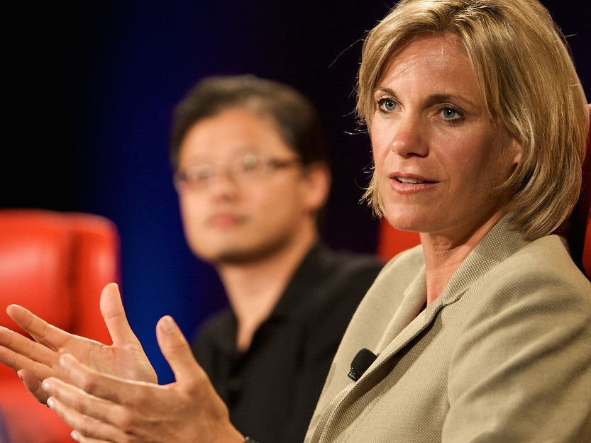 Former Yahoo executives Jerry Yang and Sue Decker at the D6 Conference in 2008