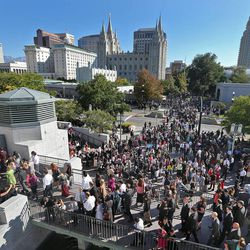 Crowds leave after the close of the 183rd Semiannual  General Conference of the Church of Jesus Christ of Latter-day Saints Sunday, Oct. 6, 2013, in Salt Lake City.