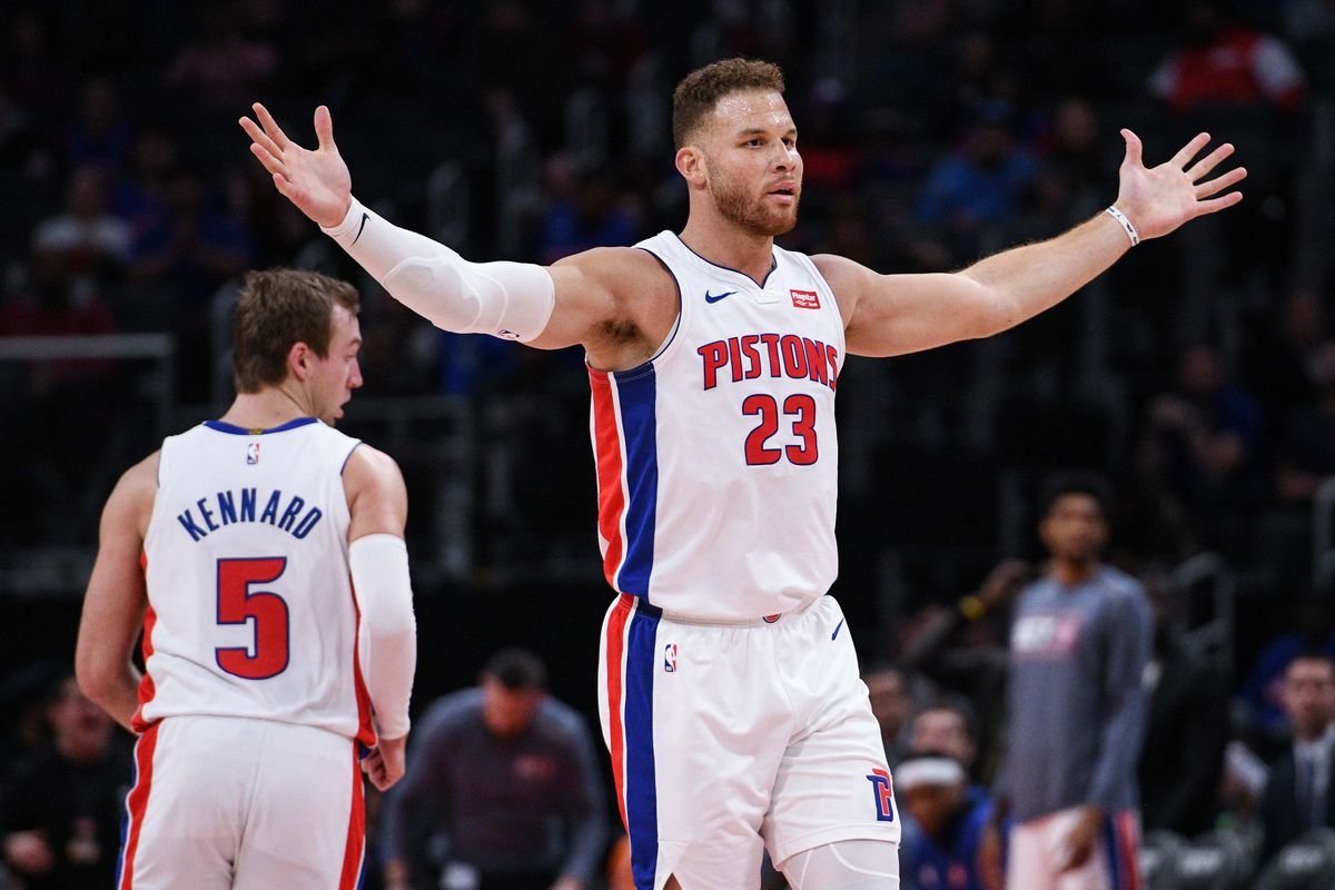 Detroit Pistons forward Blake Griffin reacts during the fourth quarter against the Minnesota Timberwolves at Little Caesars Arena.