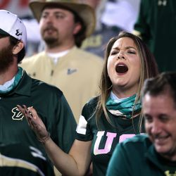 South Florida Bulls fans complain as BYU and USF play a college football game at LaVell Edwards Stadium in Provo on Saturday, Sept. 25, 2021. BYU won 35-27.