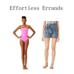 """All-In-One-Piece Swimsuit in Highlighter Pink and Paper Bag Shorts in Denim, <a href=""""http://www.saturday.com/All-In-One-Piece-Swimsuit/4DMU0001,en_US,pd.html?dwvar_4DMU0001_color=364"""">$90</a> and <a href=""""http://www.saturday.com/Paper-Bag-Shorts-in-Denim"""