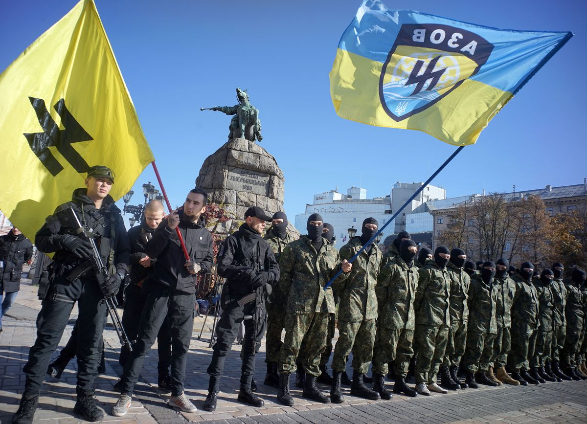 Azov demonstration with flag