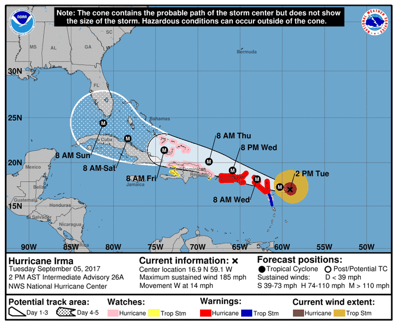 Hurricane Irma Is One Of The Most Powerful Atlantic Hurricanes - Map of us hurricanes