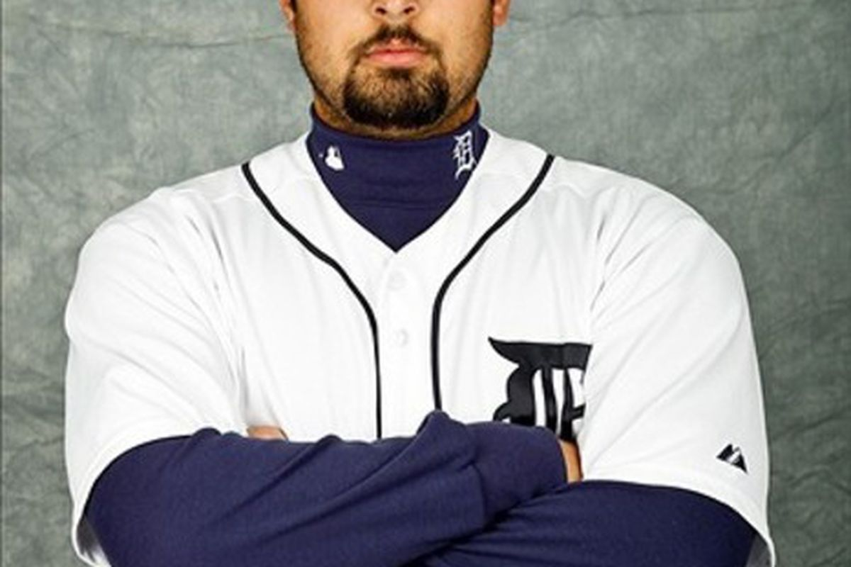 February 28, 2012; Lakeland, FL, USA; Detroit Tigers relief pitcher Daniel Schlereth (55) poses for photo day in the rec room at the Detroit Tigers headquarters.  Mandatory Credit: Derick E. Hingle-US PRESSWIRE