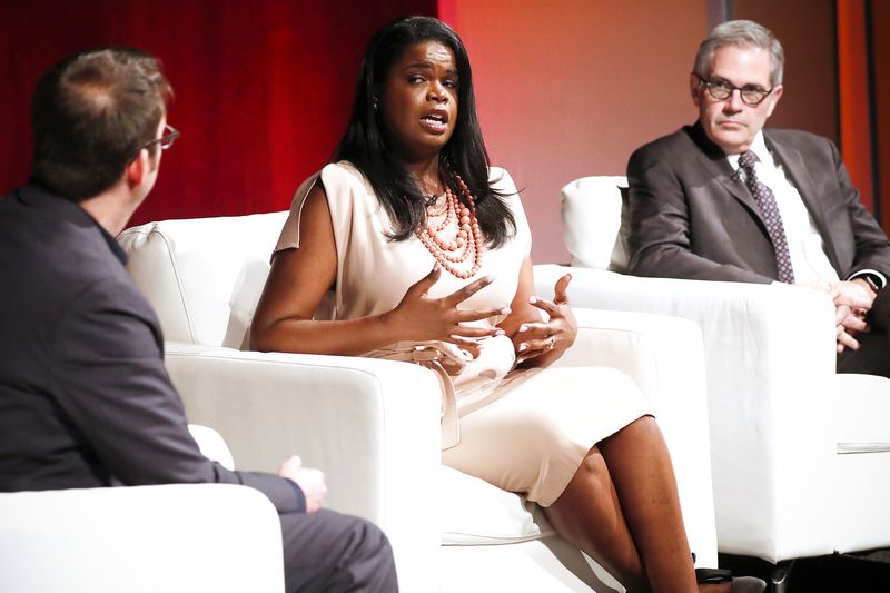 ACLU's Udi Ofer (left), State's Attorney Kim Foxx and Philadelphia District Attorney Larry Krasner participate in a panel discussion on criminal justice reform in Washington D.C., on May 9, 2018.
