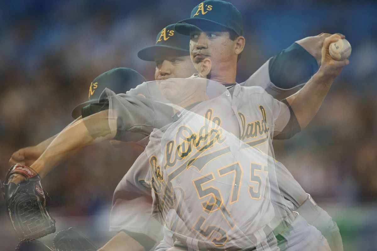 Jul 26, 2012; Toronto, ON, Canada; Oakland Athletics starting pitcher Tommy Milone (57) delivers a pitch against the Toronto Blue Jays at the Rogers Centre. The Blue Jays beat the Athletics 10-4. Mandatory Credit: Tom Szczerbowski-US PRESSWIRE