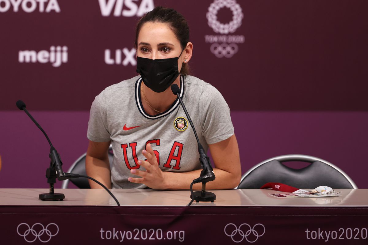 Jessica Springsteen of Team United States speaks to the media on day ten of the Tokyo 2020 Olympic Gamesat Equestrian Park on August 02, 2021 in Tokyo, Japan.