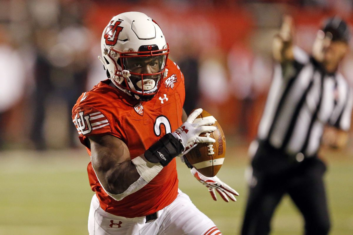 FILE - In this Oct. 20, 2018, file photo, Utah running back Zack Moss (2) carries the ball in the second half during an NCAA college football game against Southern California in Salt Lake City.
