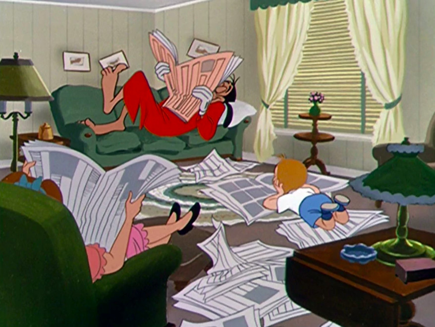 the Goofy family reading newspapers in their living room