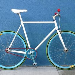 """Mission Bicycles: Custom order bikes for the big day at <a href=""""https://www.missionbicycle.com/gallery/bright-white-0"""">Mission Bicycles</a>.  White with a touch of blue seems just about perfect. Don't forget to attach a little basket for the bride's bouq"""