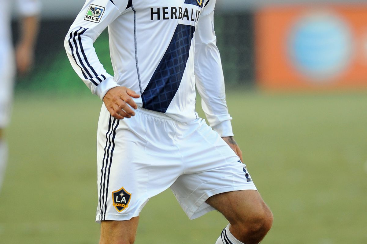 August 26, 2012; Los Angeles, CA, USA; Los Angeles Galaxy midfielder David Beckham (23) during the game against the FC Dallas at the Home Depot Center. Galaxy won 2-0. Mandatory Credit: Jayne Kamin-Oncea-US PRESSWIRE