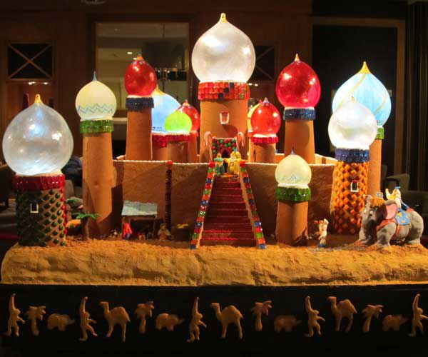 Gingerbread house made in the shape of Disney's Aladdin's castle.