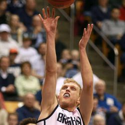 BYU's Tyler Haws shoots during a men's basketball game against Saint Mary's at the Marriott Center in Provo on Saturday, Feb. 1, 2014. Haws scored 33 points and BYU won 84-71.
