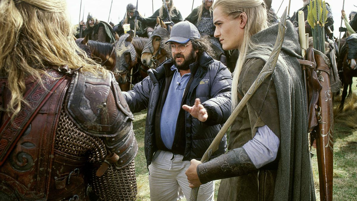 Director Peter Jackson on location filming The Lord of the Rings movies