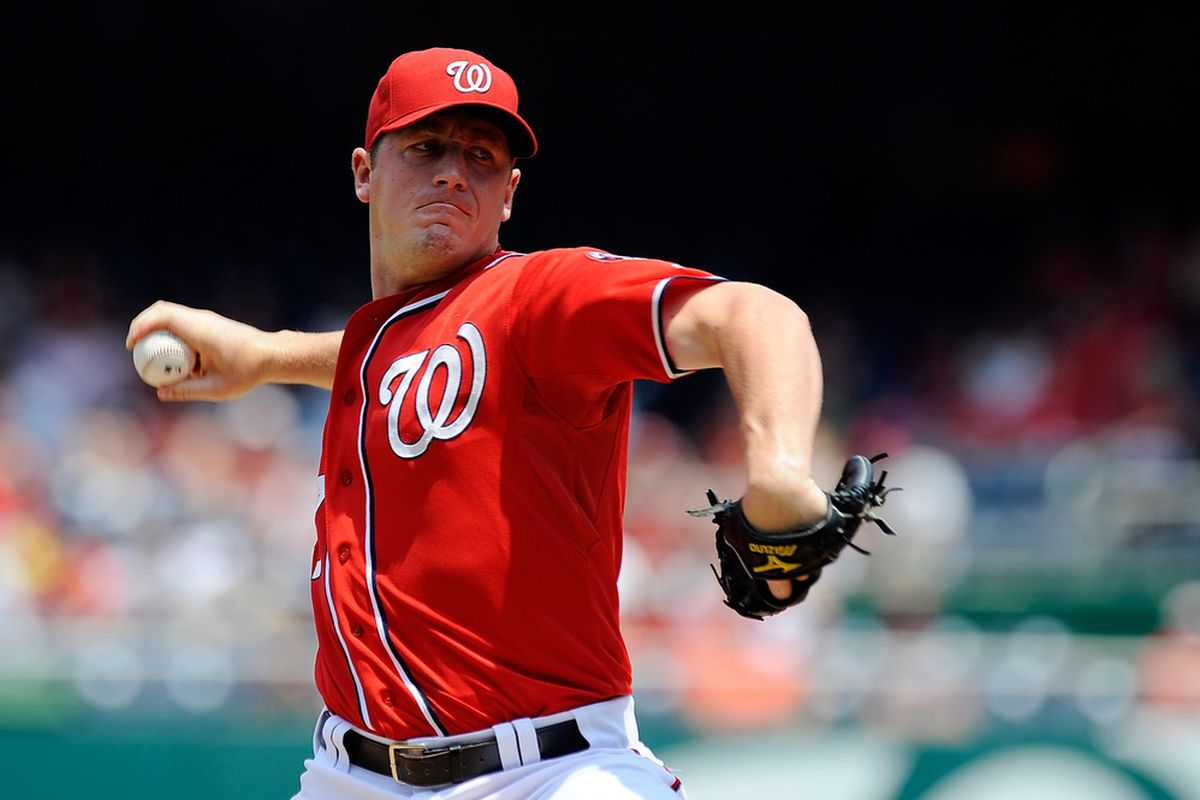 WASHINGTON, DC - JULY 08: Jordan Zimmermann #27 of the Washington Nationals throws a pitch against the Colorado Rockies at Nationals Park on July 8, 2012 in Washington, DC. (Photo by Patrick McDermott/Getty Images)
