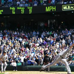 Chicago White Sox starter Phil Humber, right, throws one of his final pitches of his perfect baseball game against the Seattle Mariners, Saturday, April 21, 2012, in Seattle. The White Sox won 4-0.