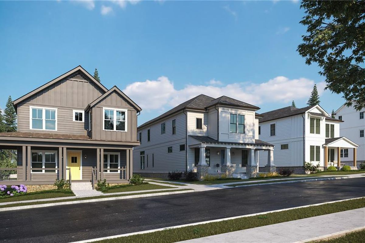 A row of houses shown in a rendering with a blacktop street in front.