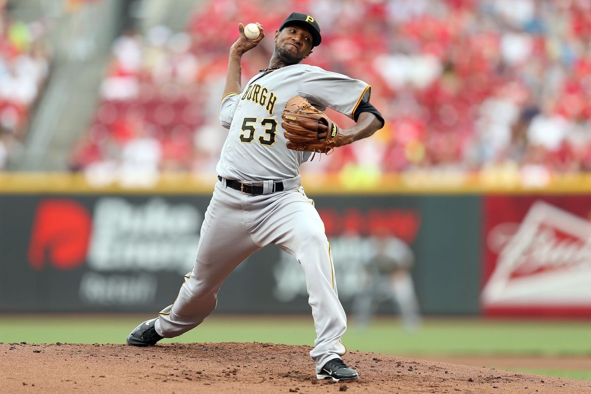 CINCINNATI, OH - AUGUST 04:  James McDonald #53 of the Pittsburgh Pirates throws a pitch during the game against the Cincinnati Reds at Great American Ball Park on August 4, 2012 in Cincinnati, Ohio.  (Photo by Andy Lyons/Getty Images)
