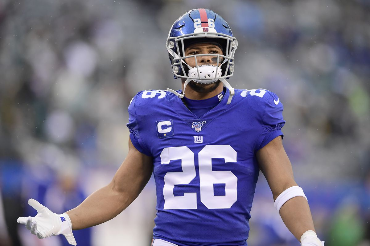 Saquon Barkley #26 of the New York Giants warms up prior to the game against the Philadelphia Eagles at MetLife Stadium on December 29, 2019 in East Rutherford, New Jersey.