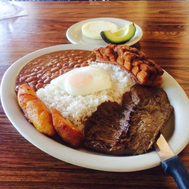 Churrasco with rice and pinto beans at Casa Colombia