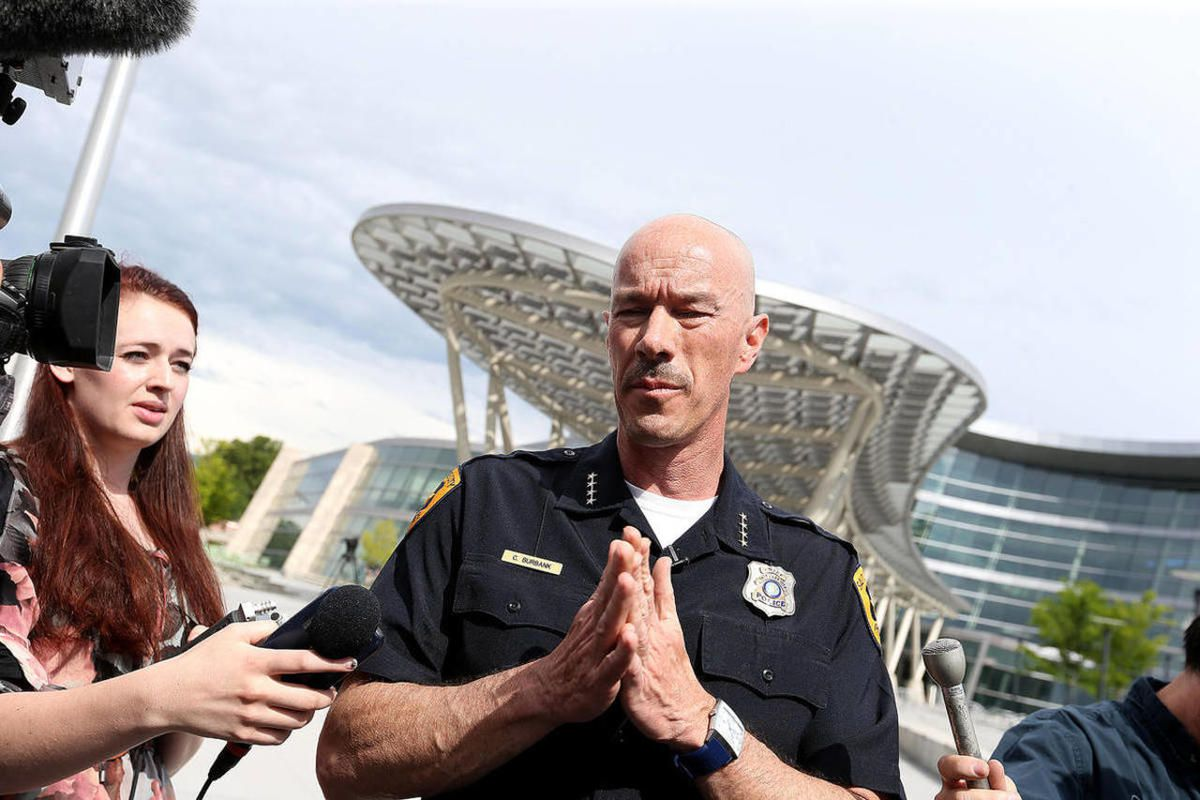 Former Salt Lake City Police Chief Chris Burbank speaks to the media about his resignation near the Public Safety Building in Salt Lake City on Thursday, June 11, 2015.