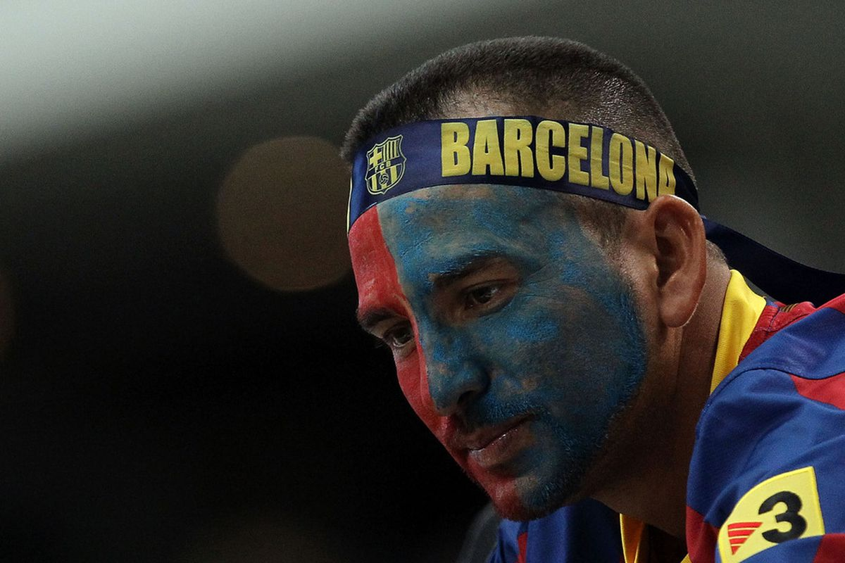 ARLINGTON, TX - AUGUST 06:  A fan of FC Barcelona during a match against Club America at Cowboys Stadium on August 6, 2011 in Arlington, Texas.  (Photo by Ronald Martinez/Getty Images)