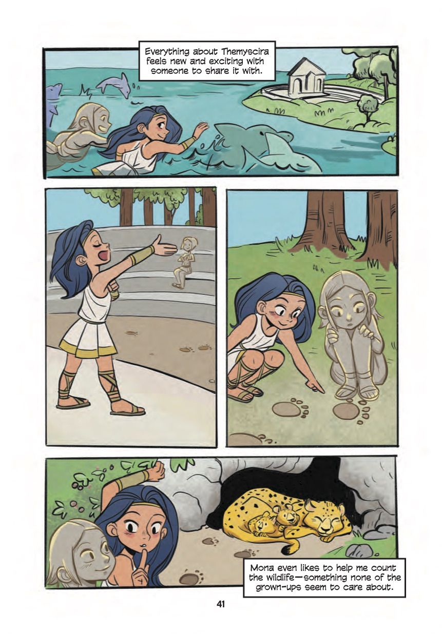 Diana and her new clay friend play in an amphitheatre and track down a leopard den in Diana, Princess of the Amazons, DC Comics (2020).