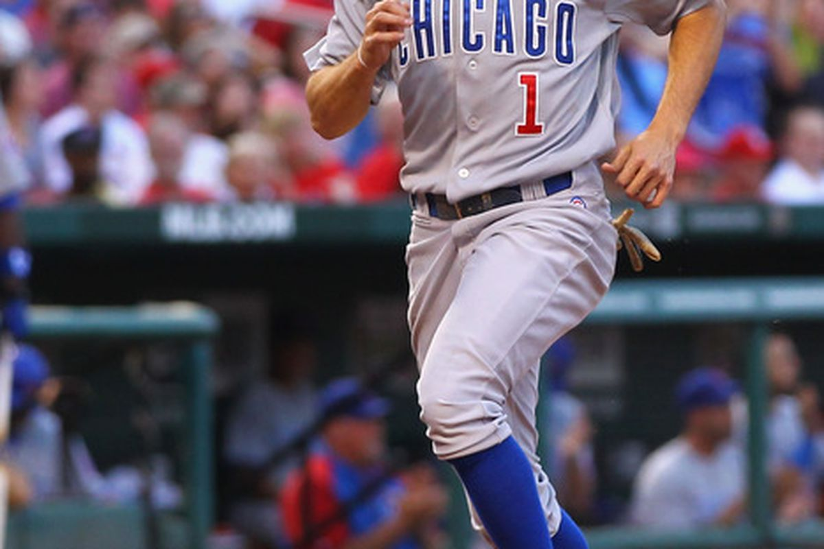 Tony Campana of the Chicago Cubs scores a run against the St. Louis Cardinals at Busch Stadium in St. Louis, Missouri.  (Photo by Dilip Vishwanat/Getty Images)
