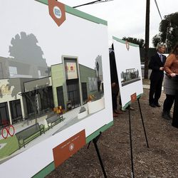 Kristen Lavelett speaks during a groundbreaking for the new Central Ninth Market in Salt Lake City, Wednesday, Oct. 28, 2015. The 9,216-square-foot commercial building will be occupied by six locally-owned small businesses, including Jade Market, which will stand as the first local food market in the neighborhood.