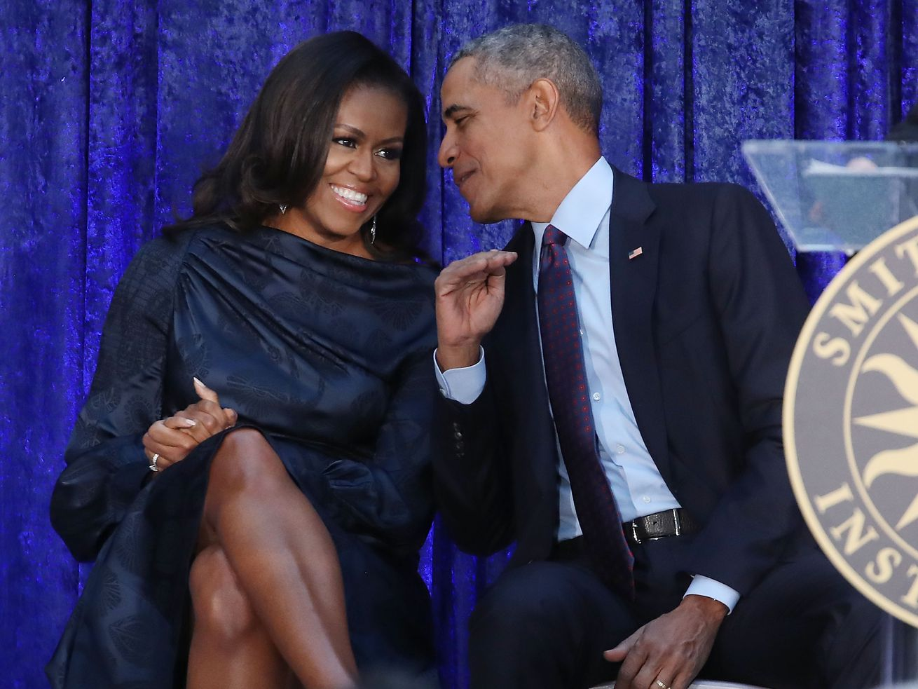 Barack and Michelle Obama at their portrait unveiling in February 2018.