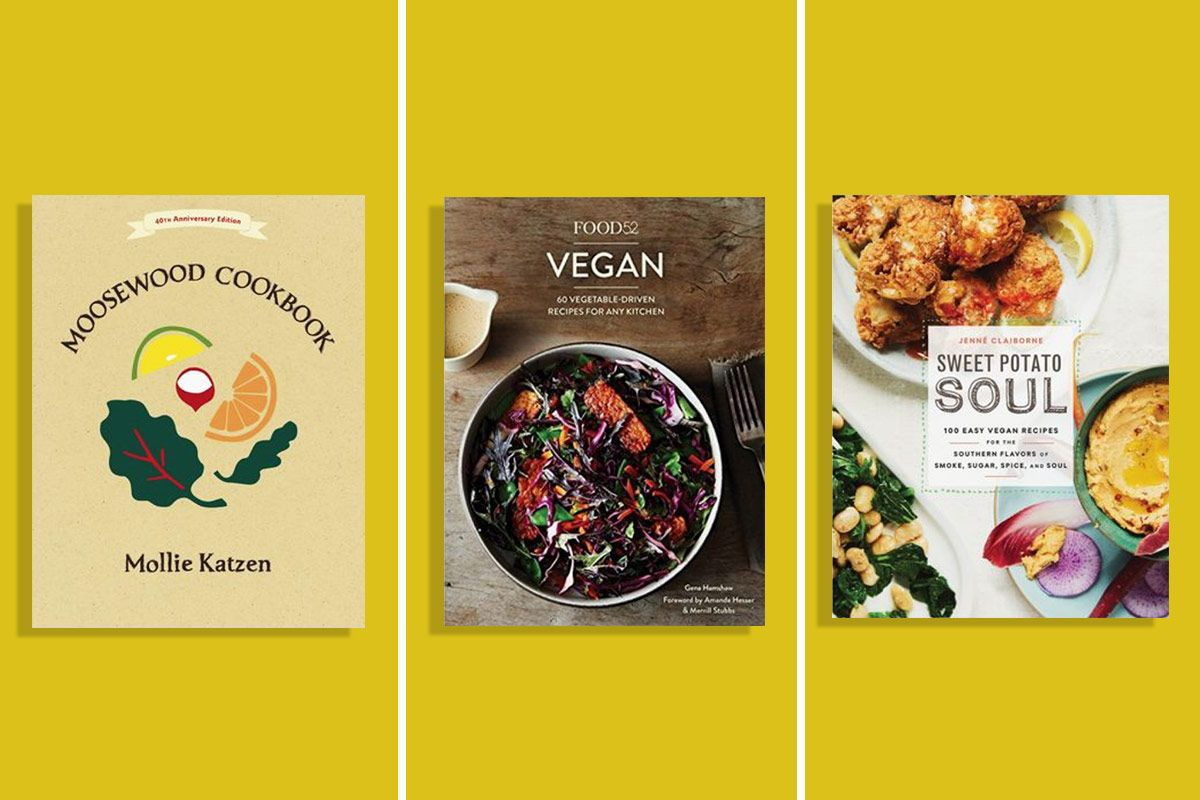 The book covers for Moosewood Cookbook, Food52 Vegan, and Sweet Potato Soul
