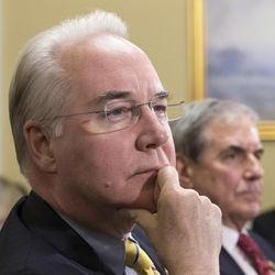 FILE — In this Jan. 5, 2016, photo, Rep. Tom Price, R-Ga., chairman of the House Budget Committee appears before the Rules Committee, joined at right by Rep. John Yarmuth, D-Ky., on Capitol Hill in Washington, D.C. Republicans hope that as President-elect Donald Trump's choice to run the Department of Health and Human Services, Price will preside over the dismantlement of President Barack Obama's signature health care law.