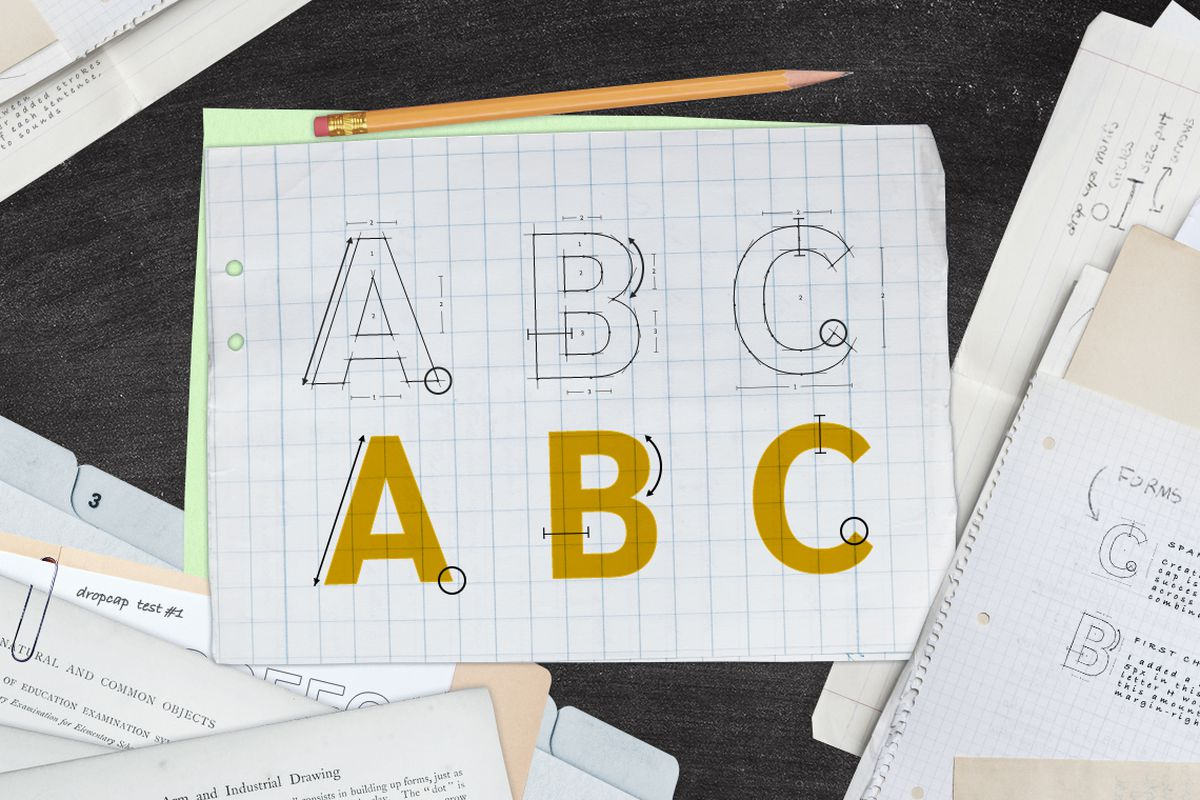 Photo illustration showing designs for a custom font