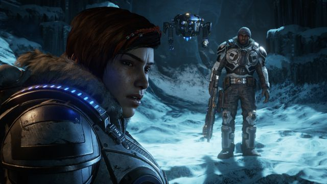 Kait, Del, and Jack in a snowy cave in Gears 5