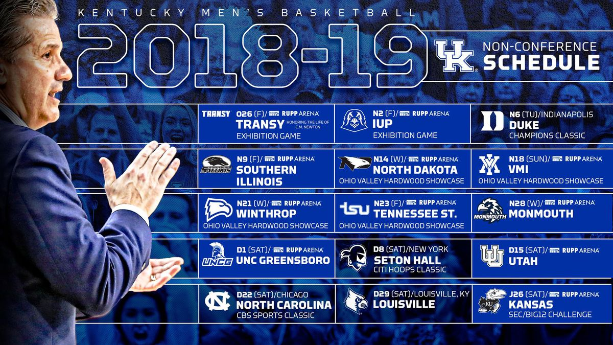 kentucky wildcats basketball 2018 19 non conference schedule set a