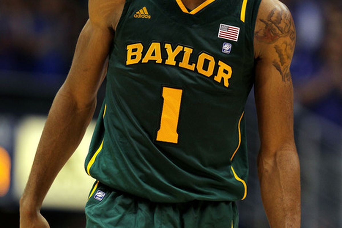 LAWRENCE, KS - JANUARY 16:  Perry Jones III #1 of the Baylor Bears walks off the court during a timeout in the game against the Kansas Jayhawks on January 16, 2012 at Allen Fieldhouse in Lawrence, Kansas.  (Photo by Jamie Squire/Getty Images)