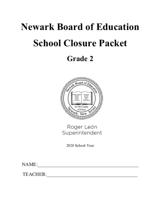 The cover of a work packet for students that Newark created in case schools are forced to close.